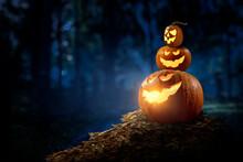 Halloween Design With Pumpkins . Mixed Media