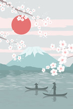 Modern Minimalist Art Abstraction, Landscape. Mount Fuji Sunrise Landscape Panorama Of Japan, Fishermen In Boats, Lake. Branches With Cherry Blossoms. Vector Graphics.