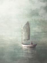 Illustration Of A Sailboat Sailing Towards Infinite Horizons