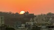 Beautiful Golden Hour Sunset Time Lapse and Cityscape View with the Hills in Background, India