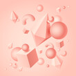 Abstract art background with the image of color geometric 3d shapes of cubes, rhombuses, squiggles, balls, vector illustration 10EPS
