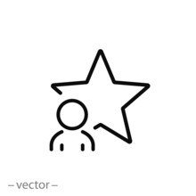 Talent Human Icon, Best Employee, Star Man, Thin Line Symbol On White Background - Editable Stroke Vector Eps10