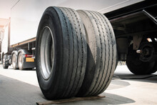 A Big Truck Wheels And Tires. Truck Spare Wheels Tyre Waiting For To Change. Trailer Maintenace And Repairing.