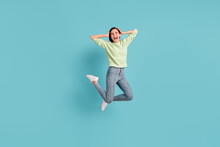 Full Length Portrait Of Impressed Cheerful Girl Hands On Head Open Mouth Isolated On Blue Color Background