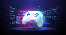 Wireless Controller Gamepad For Play Games. Neon Glowing Gamepad. Vector Illustration With Hud Elements. Cloud Gaming Concept.