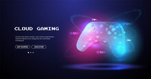 Neon Glowing Gamepad. Cloud Gaming Concept. Vector Illustration With Hud Elements. Wireless Controller Gamepad For Play Games.