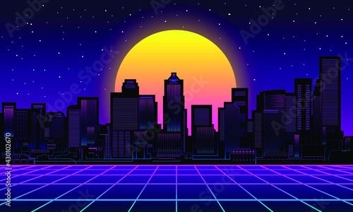 Fototapeta Retro city Background Vector silhouette with big moon obraz na płótnie