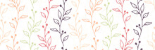Berry Bush Branches Hand Drawn Vector Seamless Pattern. Minimalist Floral Textile Print. Meadow Plants Foliage And Blossom Illustration. Berry Bush Twigs Doodle Repeating Swatch
