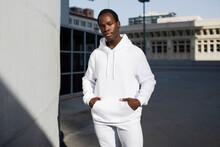Man In White Hoodie Sporty Men's Wear
