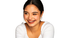 Portrait Of A Young Beautiful Woman With Braces Laughing