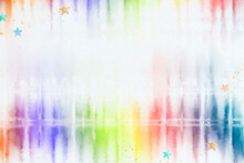 Tie Dye Background With Rainbow Watercolor Border