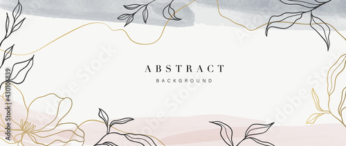 Abstract art background vector. Luxury minimal style wallpaper with golden line art flower and botanical leaves, Organic shapes, Watercolor. Vector background for banner, poster, Web and packaging. - fototapety na wymiar
