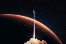 Rocket Launch To The Red Planet Mars. Spaceship Takes Off Into Starry Deep Space With Red Planet And Horizon Mars. Space Mission Ant Travel