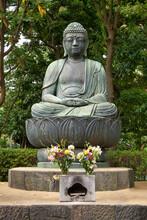Amida Buddha Statue At Sensoji Kannon Temple In Asakusa. Tokyo. Japan