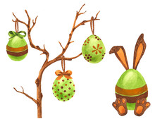 Easter Bunny And Tree With Eggs. Colorful. Watercolor Art.
