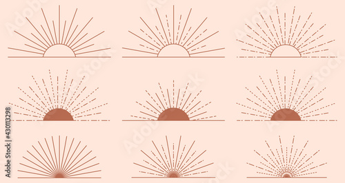 Fotografie, Obraz Set of sun icons and symbols in linear boho style