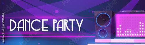 Fototapeta Dance party flyer. Poster of night club event with dj music and discotheque. Vector cartoon illustration of dj console with sound speaker and pink neon light obraz