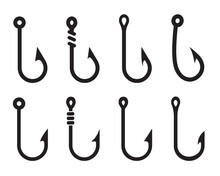 Vector Fishing Hooks For Hanging Lures. Isolate On White Background.