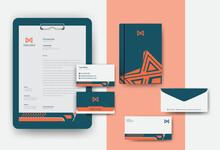 Industrial Brand Identity Mockup Set With Digital Elements. Classic Full Stationery Template Design. Editable Vector Illustration. Letterhead, Business Card, Envelop, Paper Clipboard Hardboard Set.