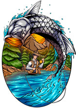 Tarpon Fish Illustration. Perfect Ethnic Backgrounds, Tattoo Art, Design Art. Use For Printing, Posters, Shirts With Textiles.
