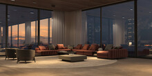 Luxury Interior With Panoramic Windows And Sunset View, Modern Large Sofa With Armchairs, Carpet, Stone Floor And Wooden Ceiling. Design Open Living Room With Night Lighting. 3d Render Illustration.