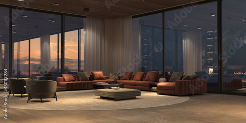 Luxury interior with panoramic windows and sunset view, modern large sofa with armchairs, carpet, stone floor and wooden ceiling. Design open living room with night lighting. 3d render illustration. - fototapety na wymiar