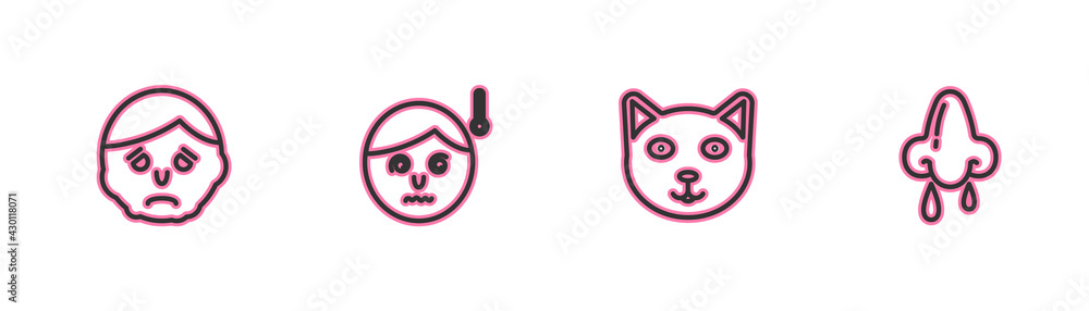 Fototapeta Set line Inflammation on face, Pet, High human body temperature and Runny nose icon. Vector