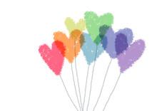 7色のハート風船手描き塗りイラスト