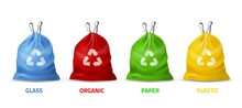 Trash Bags Colors. Realistic Packages With Handles For Separate Garbage Collection, Different Colors And Recycling Sign, Biodegradable Plastic, Eco Care. Vector 3d Isolated Set