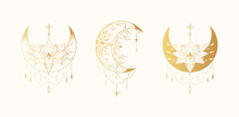 Celestial Floral Lotus Moon Illustration Collection. Spiritual Lunar Tattoo With Flowers. Mystical Gold Bohemian Prints.