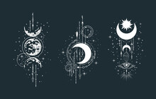 Geometric Celestial Half Moon Illustration Set. Mystical Lunar Phase Tattoo. Spiritual Esoteric Prints.