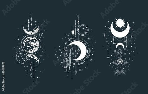 Fotografie, Obraz Geometric celestial half moon illustration set