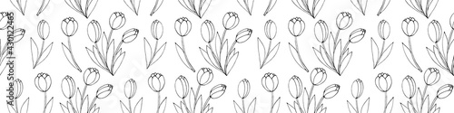 Photo Vector seamless pattern with outline Bouquet of three flowers of tulips