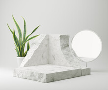 Abstract Background For Cosmetic Product Display, Stone Podium Minimal Background