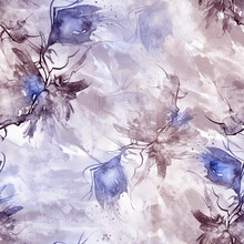 Watercolor Seamless Vintage Background. Beautiful Floral Pattern, Splash Of Paint, Abstract Purple Spots. Fashionable Art Pattern. Flower Blue Tulip, Bell, Leaves, Bud. For Textiles, Paper, Design