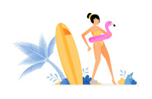 Holiday Illustrations Of Woman Tries To Flamingo Buoy And Gets Ready To Swim. Surfing Board Stuck Near On Coconut Tree. Vector Design Can Be For Posters, Banners, Ads, Websites, Web, Mobile, Marketing