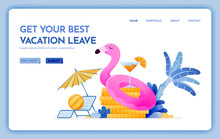 Travel Website With The Theme Of Get Your Best Vacation Leave. Cheap Tropical Beach Destination For Holiday. Vector Design Can Be Used For Poster, Banner, Ads, Website, Web, Mobile, Marketing, Flyer