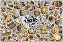 Cartoon Set Of Bakery Theme Items, Objects And Symbols