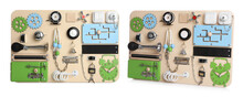 Busy Boards On White Background, Collage. Baby Sensory Toy