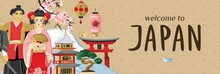 Welcome To Japan Lettering. Banner With Japanese Symbols In Sketch Style Isolated On Beige. Poster With A Geisha, A Samurai, Oriental Architecture, Sakura Branches, Mount Fuji. Vector Illustration