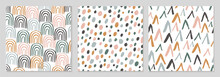 Set Of Seamless Abstract Patterns With Hand Drawn Elements