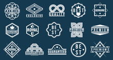 Premium Best Quality Vector Emblems Set, Black And White Badges And Logos Collection For Different Products And Business, Classic Graphic Design Elements, Insignias And Awards.