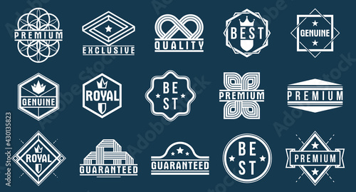 Slika na platnu Premium best quality vector emblems set, black and white badges and logos collection for different products and business, classic graphic design elements, insignias and awards