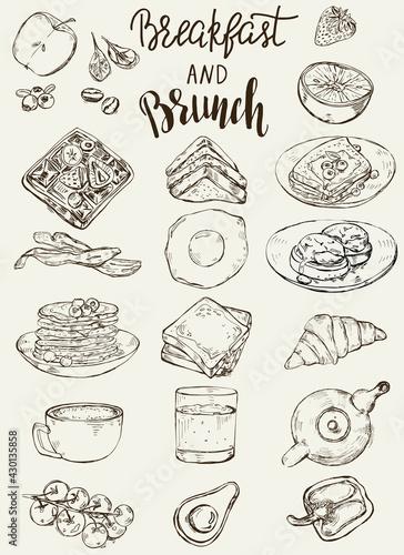 Fototapeta Set of traditional breakfast dishes, bakery and drinks. obraz