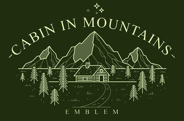 Log cabin wooden house in pine forest over mountain range vector nature emblem on dark, cottage woodhouse for rest in pine forest, holidays and vacations theme line art drawing logo.