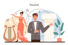 Singer Concept. Opera Performer Singing On Stage. Vocal Music Show