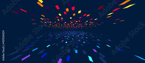 Abstract vector background, communication technology concept, dark 3d bits flying in perspective, futuristic abstraction. - fototapety na wymiar