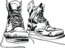 Illustration With Vintage Old Shoes. Isolated Sketch Object. Flat Vector Illustration.