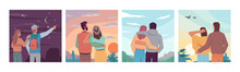 Sky Landscape Travel People Looking At Night Starry Sky, Sunrise Or Sunset, Flying Birds At Daytime. Vector Couple In Love Observation Nature And Dreaming Together. Inspiration And Imagination