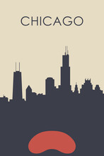 Chicago City Poster Artwork. My Own Graphic Design Vector Drawing.